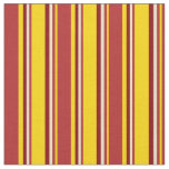 [ Thumbnail: Yellow, Red, Tan & Maroon Lined/Striped Pattern Fabric ]