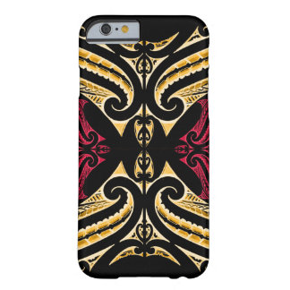 Yellow Red tribal Maori tatau drawing polytat Barely There iPhone 6 Case