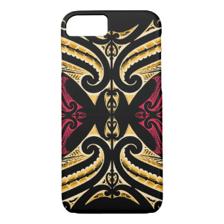 Yellow Red tribal Maori tatau drawing polytat iPhone 7 Case