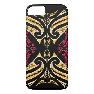 Yellow Red tribal Maori tatau drawing polytat iPhone 8/7 Case