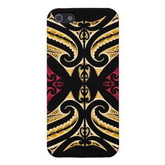 Yellow Red tribal Maori tatau drawing polytat iPhone 5 Covers