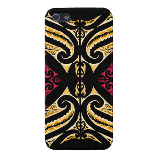 Yellow Red tribal Maori tatau drawing polytat iPhone SE/5/5s Case