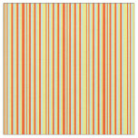 [ Thumbnail: Yellow, Red & Turquoise Lines Pattern Fabric ]