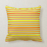 [ Thumbnail: Yellow, Red & Turquoise Lines Pattern Throw Pillow ]