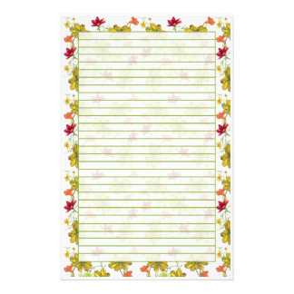Yellow Red Watercolor Wildflowers Green Lined Stationery