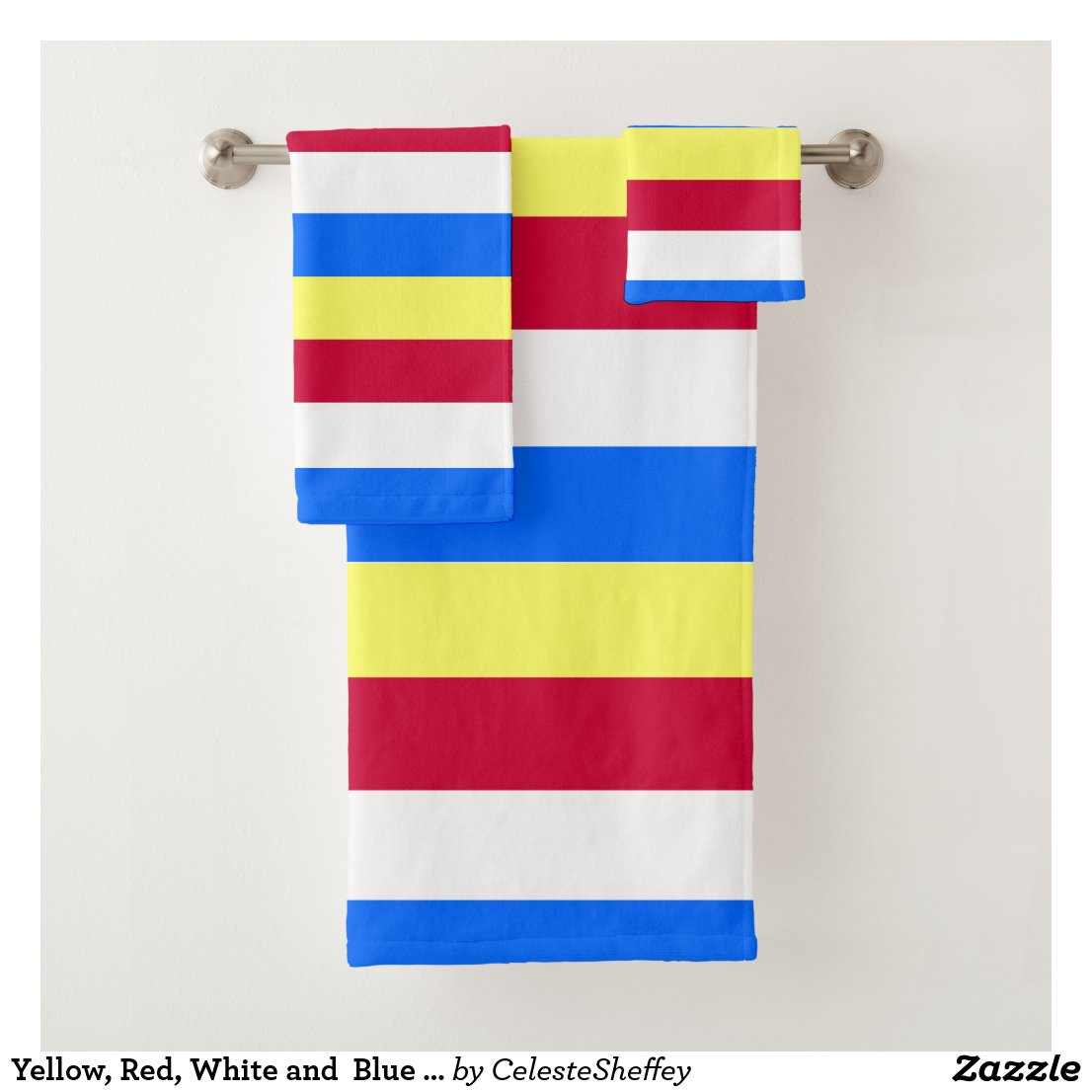 Yellow, Red, White and Blue Stripes Bath Towel Set