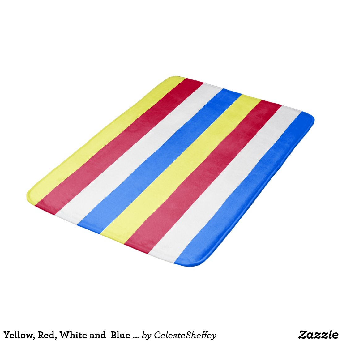 Yellow, Red, White and Blue Stripes Bathroom Mat