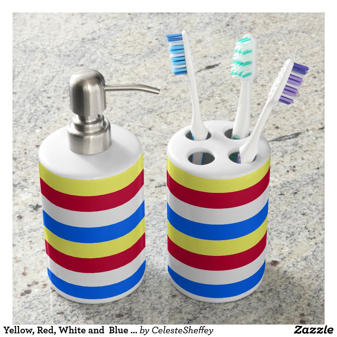 Yellow, Red, White and Blue Stripes Bathroom Set