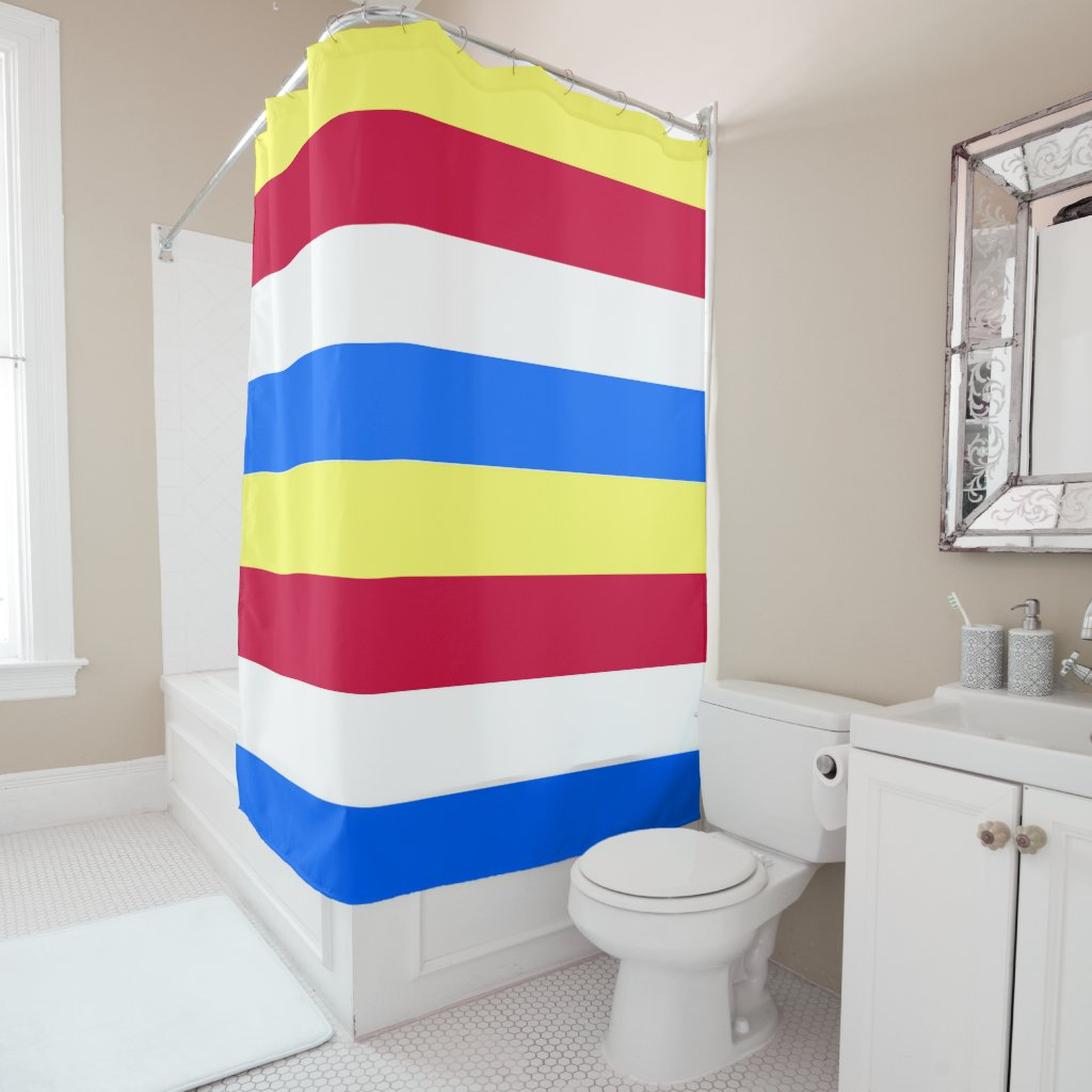 Yellow, Red, White and Blue Stripes Shower Curtain