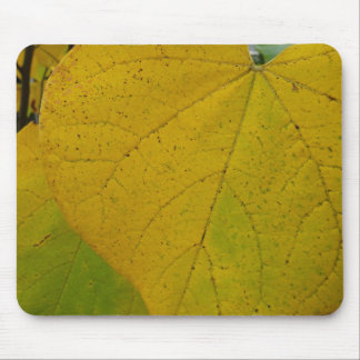 Yellow Redbud Leaves Autumn Macro Photography Mouse Pad