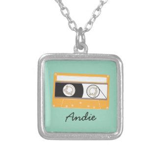 Yellow Retro 80s Cassette Indie Mixtape Square Pendant Necklace