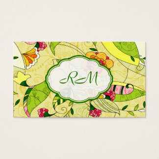 Yellow Retro Abstract Floral Collage Business Card