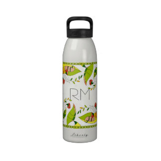 Yellow Retro Abstract Floral Collage-Monogram Drinking Bottle