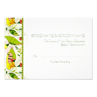 Yellow Retro Abstract Floral Collage-RSVP Announcements