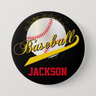 Yellow Retro Baseball Style Button