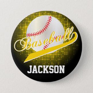 Yellow Retro Baseball Style Pinback Button