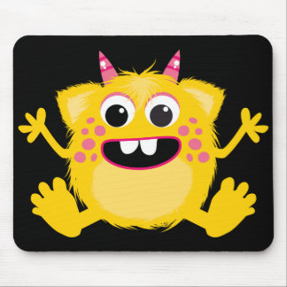 Yellow Retro Cute Monster Mouse Pad