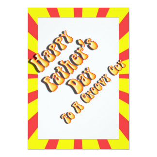 """Yellow Retro Father's Day for a Groovy Guy 5"""" X 7"""" Invitation Card"""