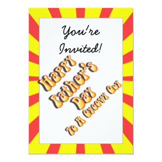 Yellow Retro Father's Day for a Groovy Guy 5x7 Paper Invitation Card