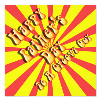 Yellow Retro Father's Day for a Groovy Guy 5.25x5.25 Square Paper Invitation Card