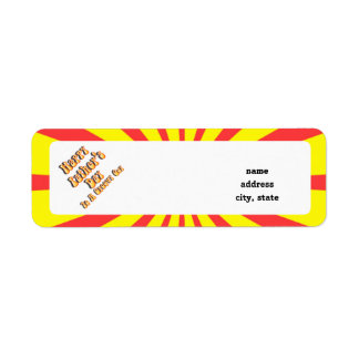 Yellow Retro Father's Day for a Groovy Guy Return Address Label