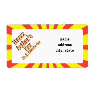 Yellow Retro Father's Day for a Groovy Guy Shipping Label