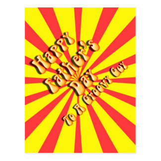 Yellow Retro Father's Day for a Groovy Guy Postcard