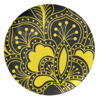 Yellow Retro Floral Design On Black Plates