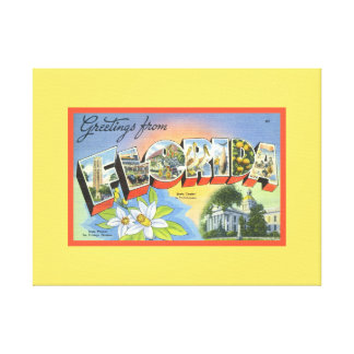 Yellow Retro Greetings From Florida Font Tropical Canvas Print