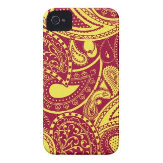 Yellow Retro Paisley swirl pattern iPhone 4 Case