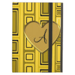 Yellow retro squares monogram iPad case