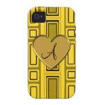 Yellow retro squares monogram iPhone 4 cases