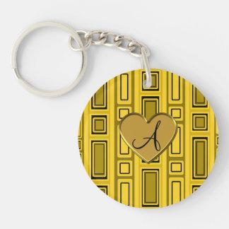 Yellow retro squares monogram Double-Sided round acrylic keychain
