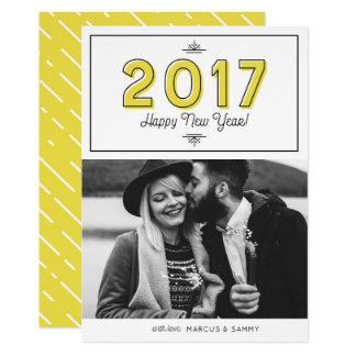 Yellow Retro Typography Happy New Year 2017 Photo Card
