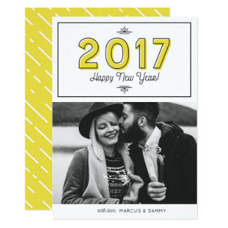 Yellow Retro Typography Happy New Year 2017 Photo Card
