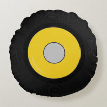 Yellow Retro Vinyl Record Disk Round Pillow