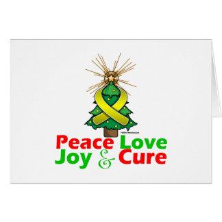 Yellow Ribbon Christmas Peace Love, Joy & Cure Greeting Card
