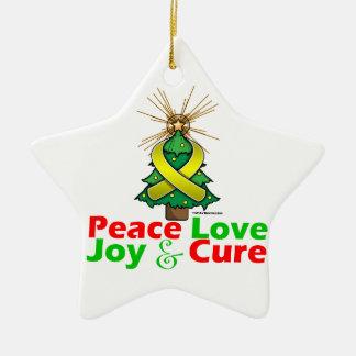 Yellow Ribbon Christmas Peace Love, Joy & Cure Ceramic Ornament