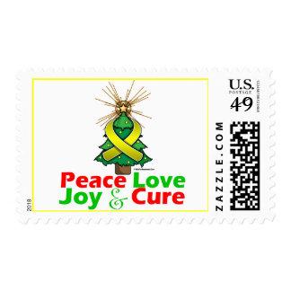 Yellow Ribbon Christmas Peace Love, Joy & Cure Stamp