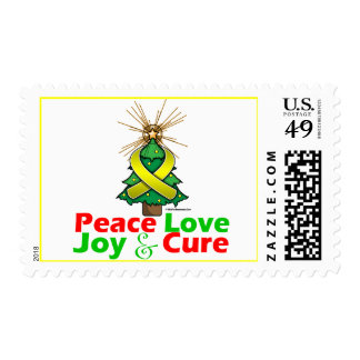 Yellow Ribbon Christmas Peace Love, Joy & Cure Stamp