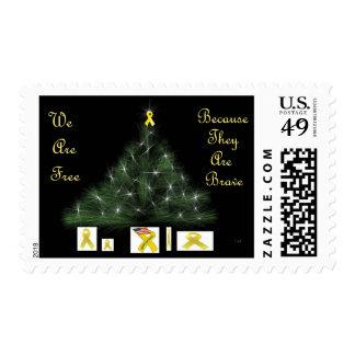 Yellow Ribbon Christmas Tree Postage
