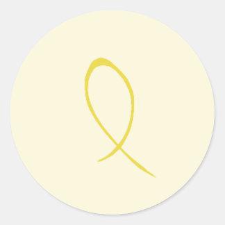 Yellow Ribbon Classic Round Sticker
