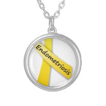 Yellow Ribbon for Endometriosis Silver Plated Necklace