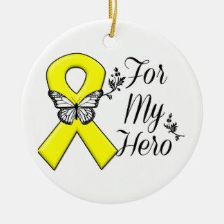 Yellow Ribbon For My Hero Ceramic Ornament