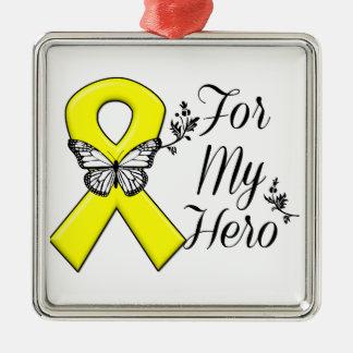 Yellow Ribbon For My Hero Metal Ornament