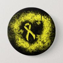 Yellow Ribbon Grunge Heart Button