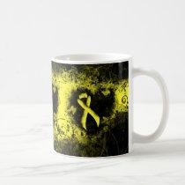 Yellow Ribbon Grunge Heart Coffee Mug