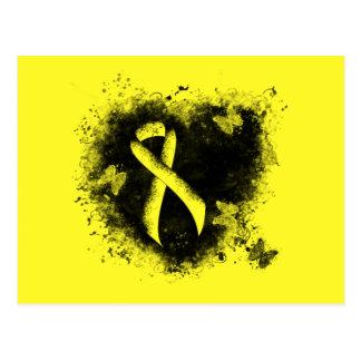 Yellow Ribbon Grunge Heart Postcards