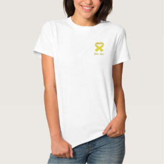 Yellow Ribbon Heart Shirt Embroidered Polo Shirt