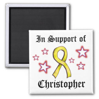 Yellow Ribbon - in Support 2 Inch Square Magnet